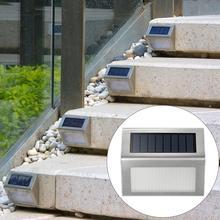 4 pçs de aço inoxidável 3led lâmpada parede solar ao ar livre à prova dwaterproof água energia solar jardim cerca luz pátio caminho cerca parede luz