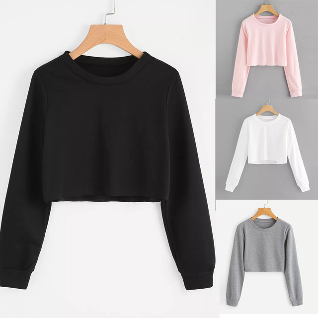 2019 Summer Women Basic Long Sleeve Crop Sweatshirt Fashion O Neck Hoodies Casual Solid Pullover