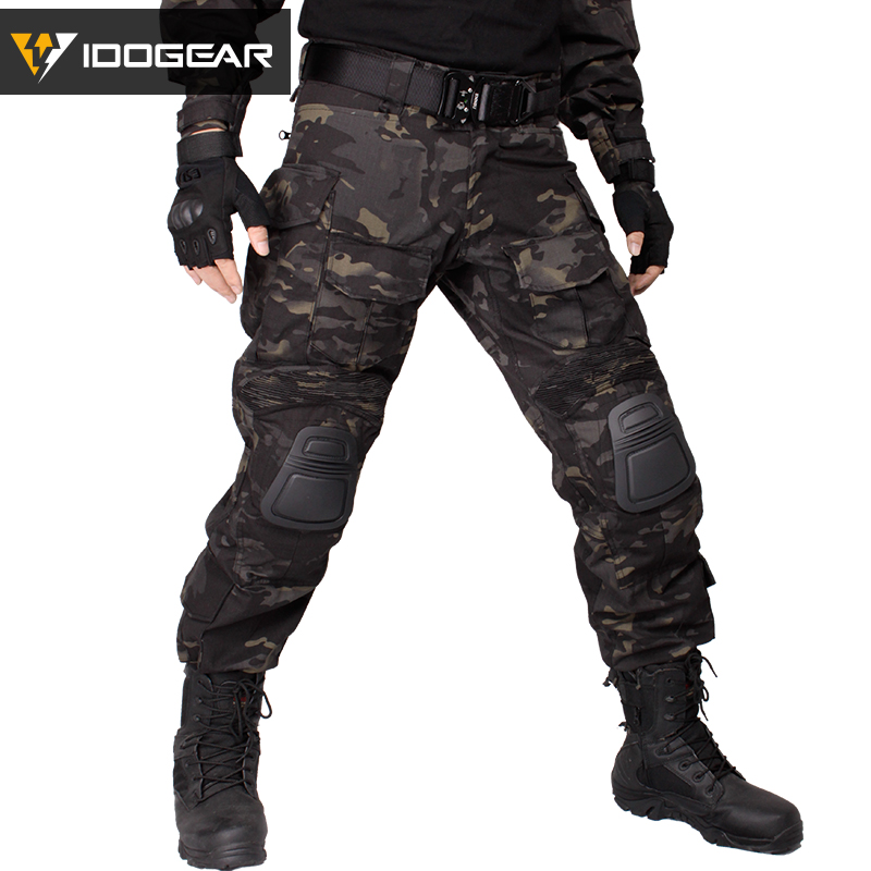 019c0c4ac3ad6 IDOGEAR Gen3 Combat Pants with Knee Pads Airsoft Tactical Trousers Multicam  CP Hunting Camouflage black ghillie