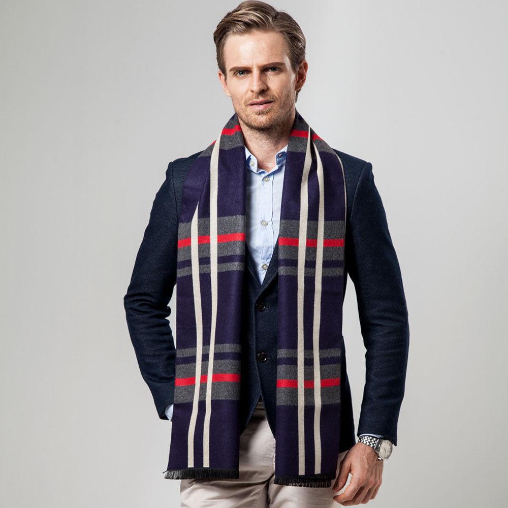 2018 New Style Fashion Men Business Cashmere Scarf Plaid Neck Wrap Autumn Winter Warm Xmas Gift Fashion Set