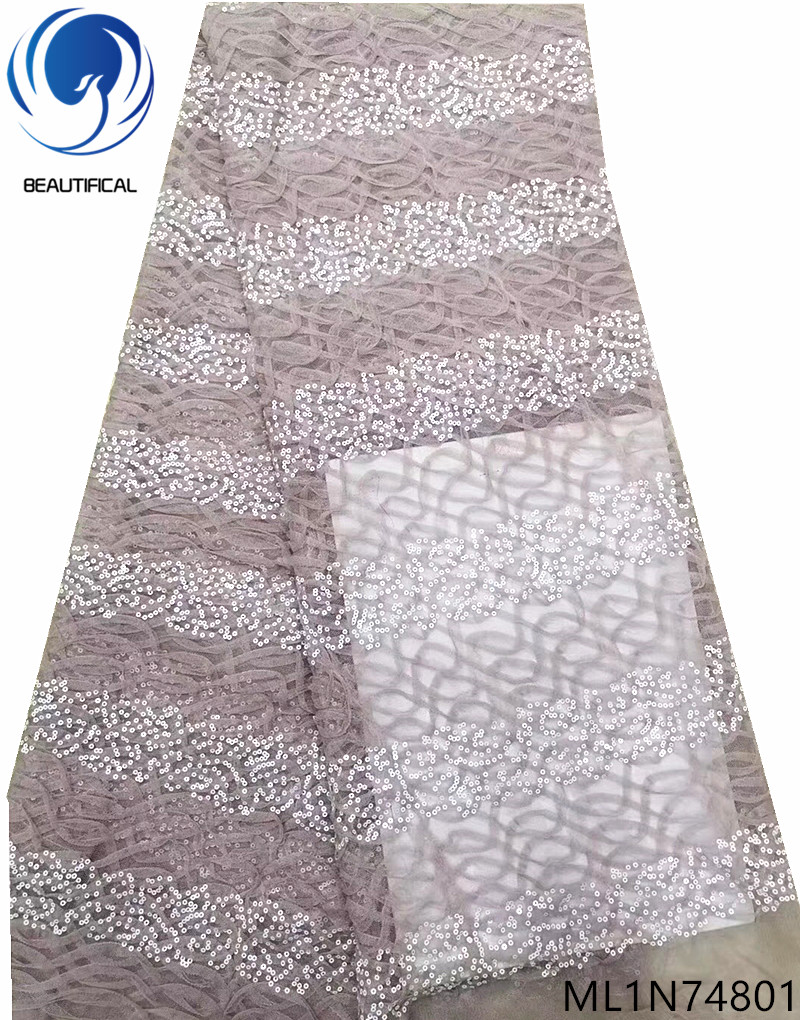 Beautifical shiny sequins lace fabrics african tulle lace dress 2019 high quality sequin net lace fabrics 5yards lot ML1N748 in Lace from Home Garden