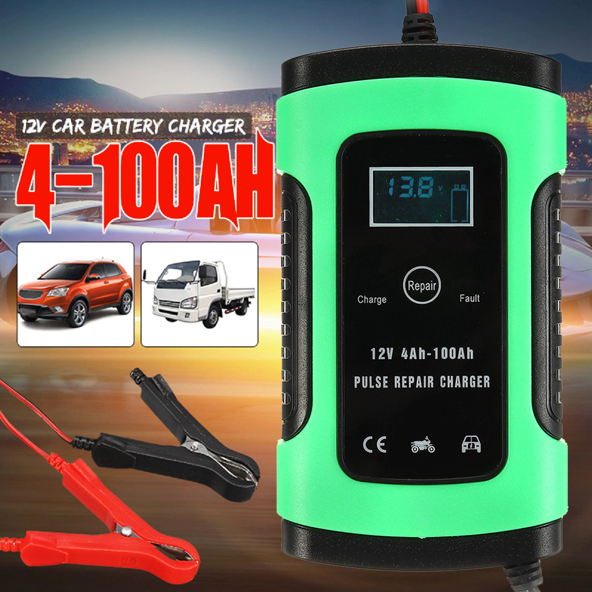12V 5A Auto Car Intelligent Battery Charger Jump Starter LCD Intelligent 100-240V 100AH Pulse Repair Type