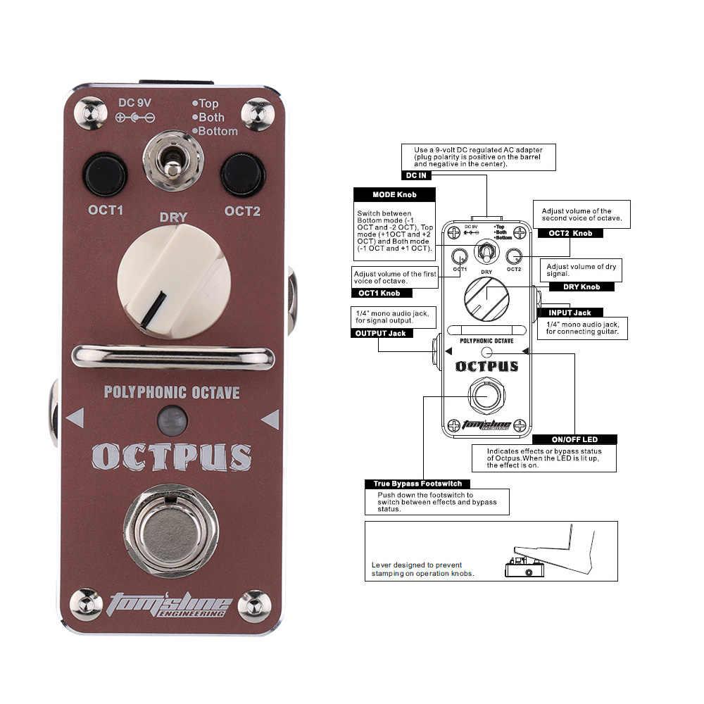 AROMA AOS-3 True Bypass Octpus Polyphone Oktave Elektrische Gitarre Effekt Pedal Mini Einzigen Wirkung Prozessor Gitarre Zubehör