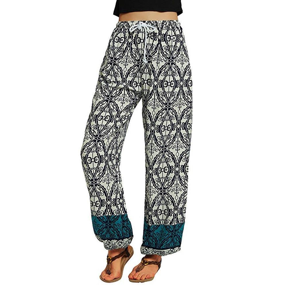 Women Casual Mid-Waist Print   Pants   Summer Loose Elastic Harem   Pants   Lace Up   Wide     Leg     Pants