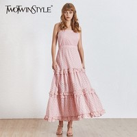 TWOTWINSTYLE Sexy Sleeveless Midi Dress Summer Women Hollow out Ruffle Spaghetti Strap Dresses Female Clothes Korean 2019 Summer