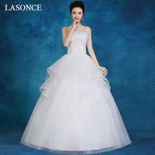LASONCE Crystal Pleat Strapless Lace Appliques Ball Gown Wedding Dresses Off The Shoulder Backless Bridal Gowns aidi yin the crystal ball