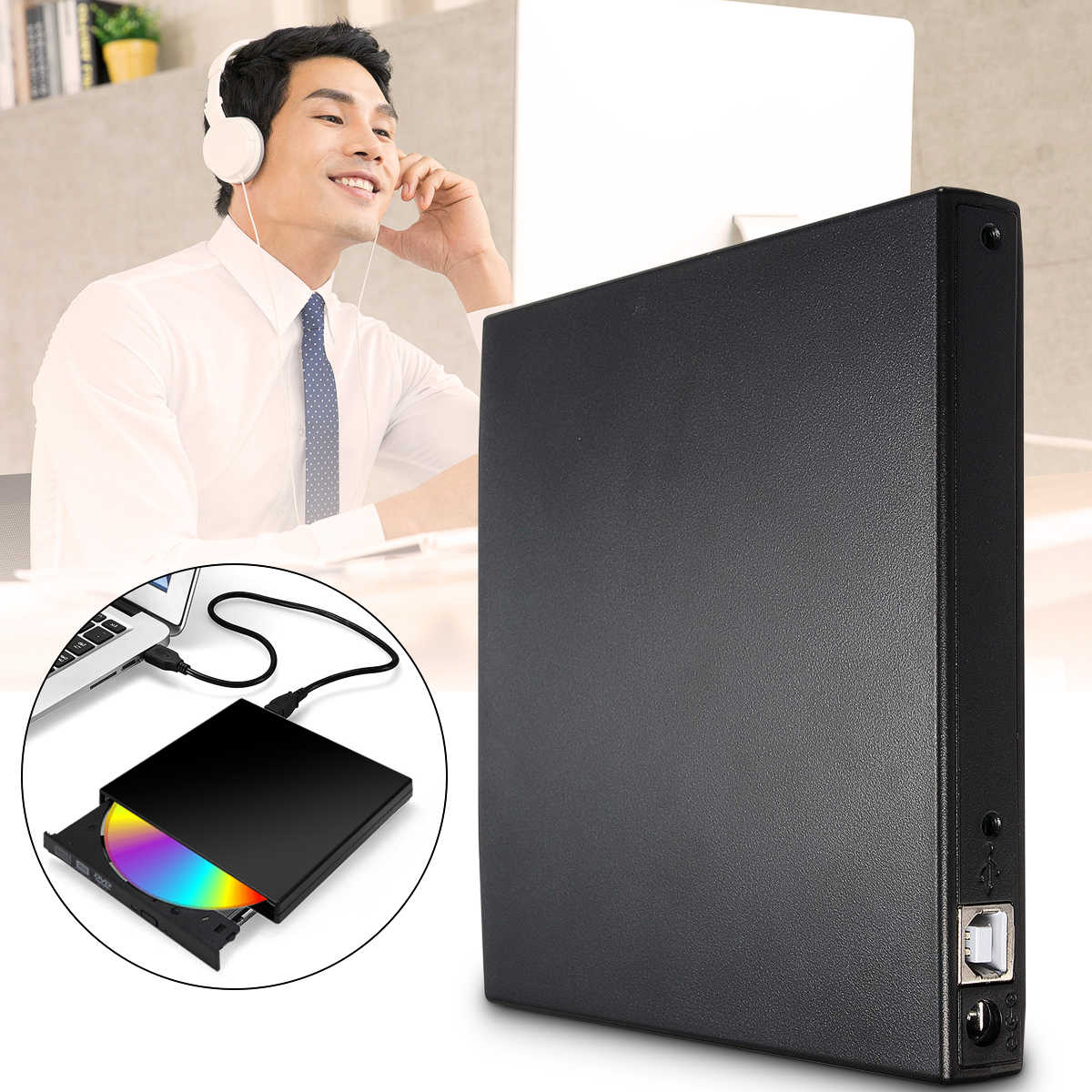 Baru USB 2.0 DVD CD DVD-ROM Ide Cover DVD RW Burner ROM Drive Eksternal Case Enclosure Caddy laptop Notebook Ide Antarmuka