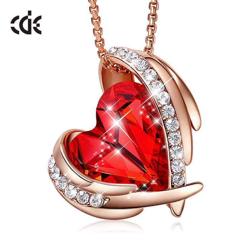 CDE Women Gold Necklace Pendant Embellished With Crystals from Swarovski Red Heart Necklace Rose Gold Jewelry Valentines Gift