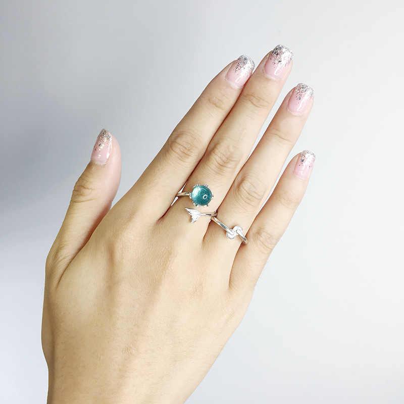 925 Sterling Silver Blue Mermaid ฟองเปิดแหวนแหวนแต่งงานผู้หญิงวันเกิดของขวัญแฟชั่นสร้างสรรค์เครื่องประดับเจ้าสาว