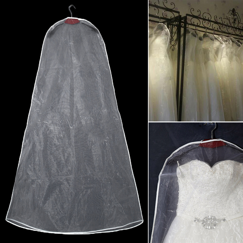 Long 160/180cm Transparent Tulle Crystal Yarn Clothing Covers Wedding Bridal Dress Cover Garment Bags For Home Wardrobe Gown