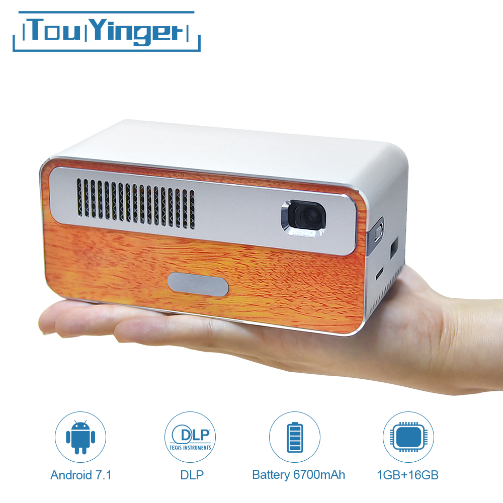 Touyinger HDP300 250 ANSI Mini LED Portable DLP Projector WiFi Battery HD Android 1080P Bluetooth Pocket