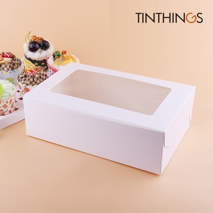 50PCS Windowed Cupcake Boxes White Brown Kraft Paper Box Gift Packaging For Wedding Festival Party 6