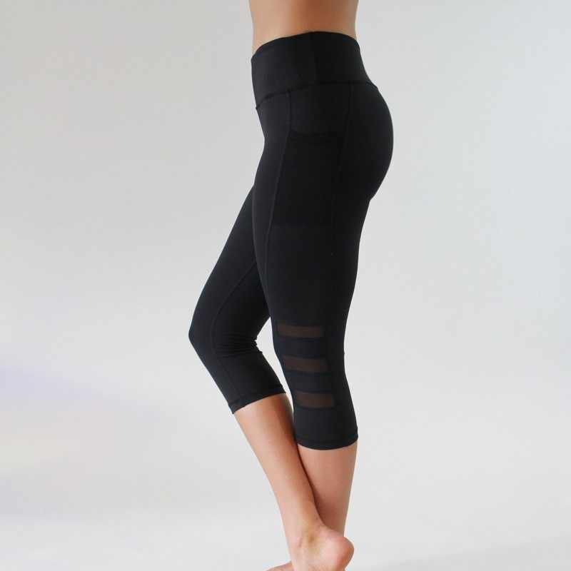 Dikişsiz tayt yüksek elastik Yoga pantolon ince spor pantolonları katı siyah örgü kadın Yoga pantolonu tayt yüksek bel koşu tayt
