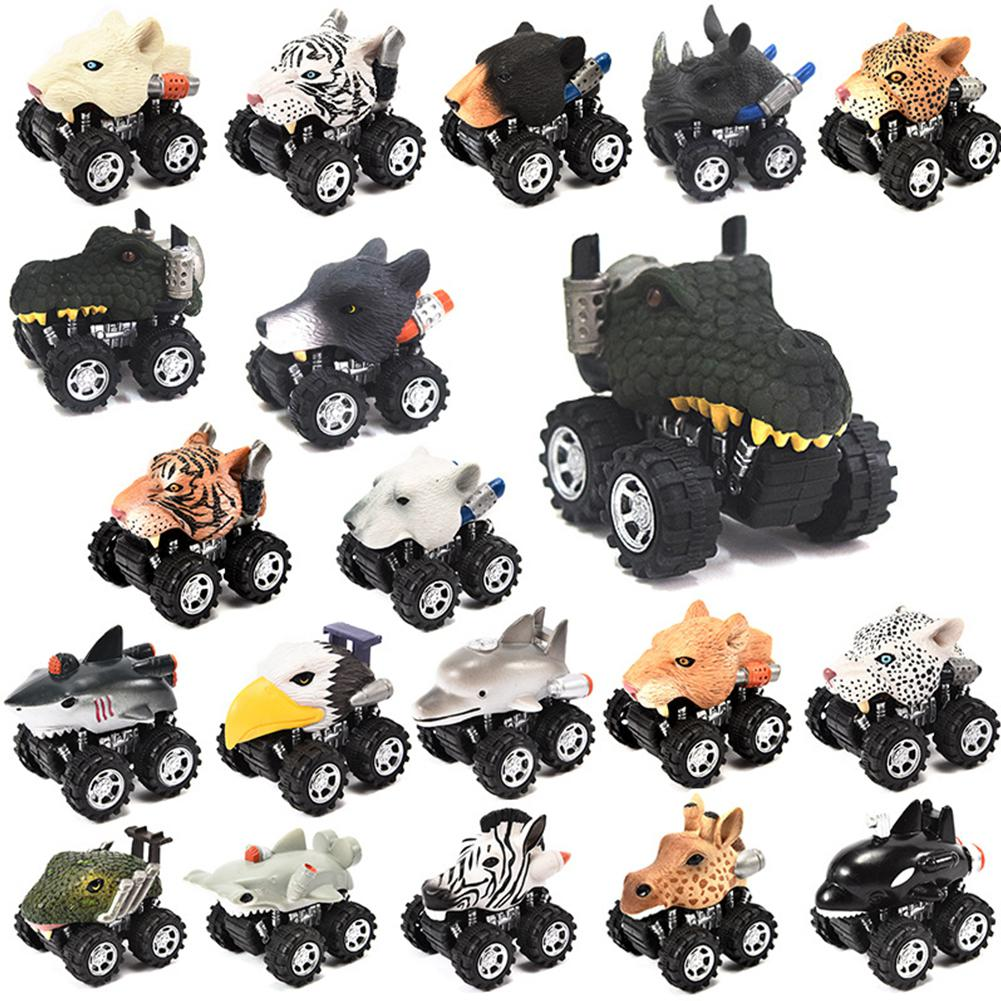 Kids Collectible Cute Animal Model Dinosaur Panda Vehicle Mini Elephant Bear Toy Truck Tiger Pull Back Car Boy Toys For Children