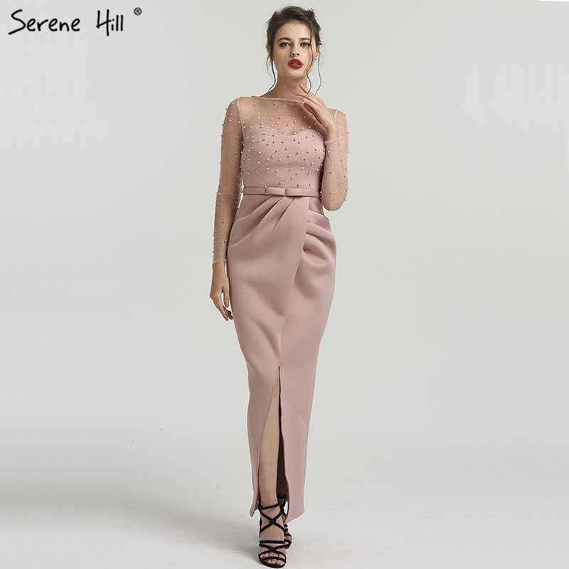 Pink Long Sleeves Mermaid Pearls Evening Dresses Elegant Fashion Sexy Formal Evening Gowns 2019 Serene Hill QA8022