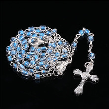Color stainless steel rosary 4mm glass crystal not rosary beads cross necklace, prayer necklace jewelry Jesus Christ cross neckl