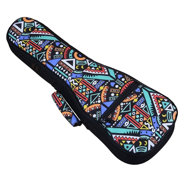 Double Strap Hand Folk Ukulele Carry Bag Cotton Padded Case For Ukulele Guitar Parts Accessories,Blue-Graffiti