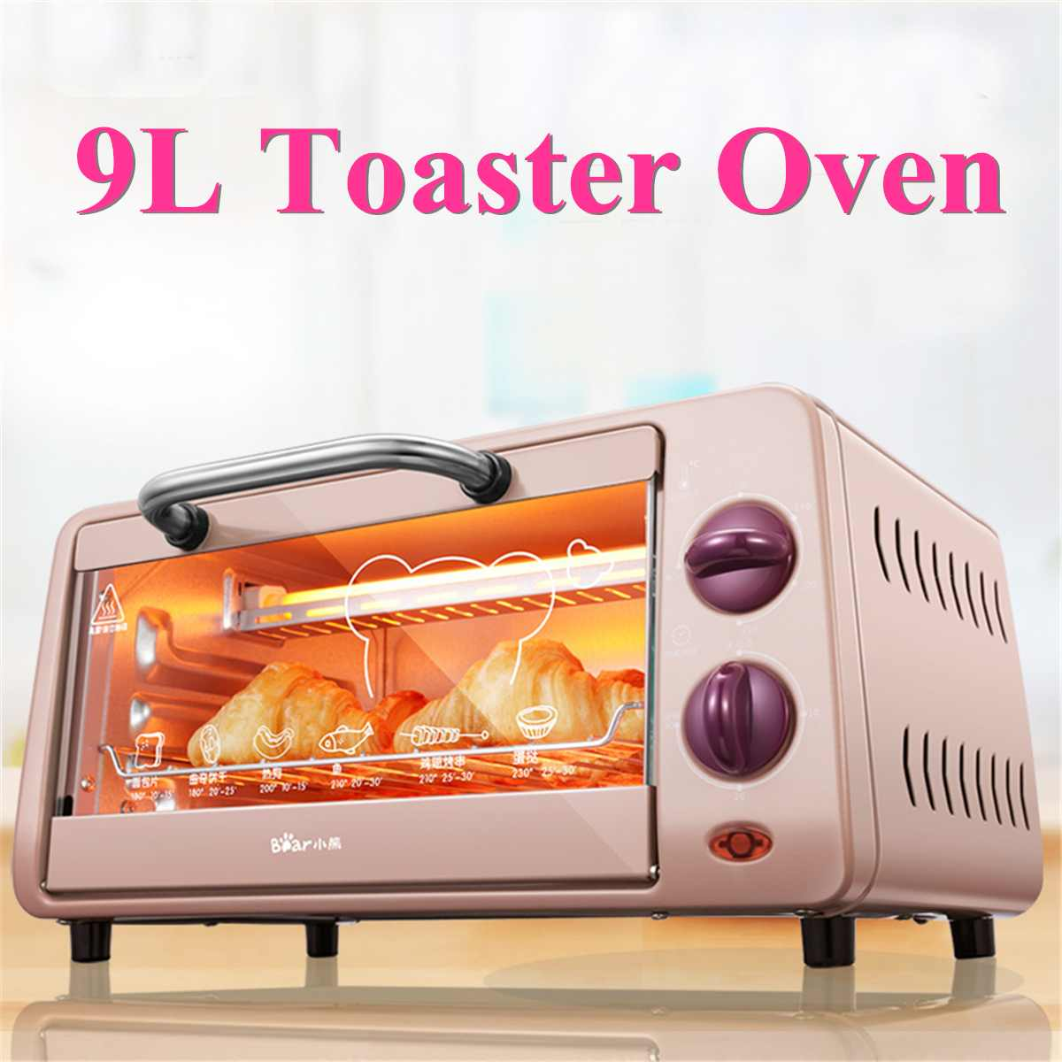9L 800W Electric Toaster Oven Stainless Steel Broiler Countertop Bake Mini Household Oven Multifunctional Pizza Baking Oven9L 800W Electric Toaster Oven Stainless Steel Broiler Countertop Bake Mini Household Oven Multifunctional Pizza Baking Oven