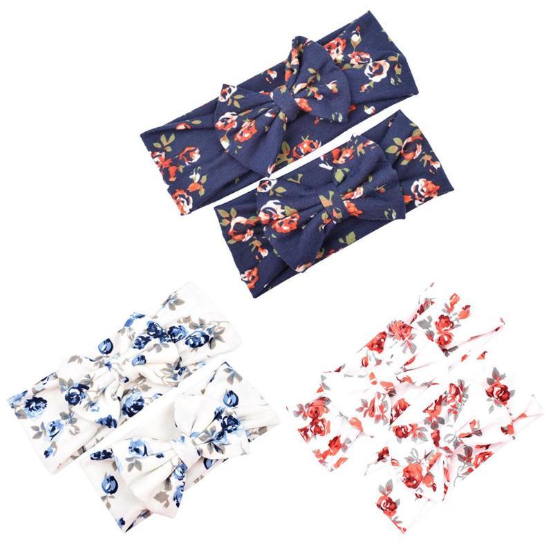 2pcs/set Colorful Boho Mother Kids Hairband Bowknot Flower Print Elastic Casual Hairband Baby Headbands For Girls Christmas Gift