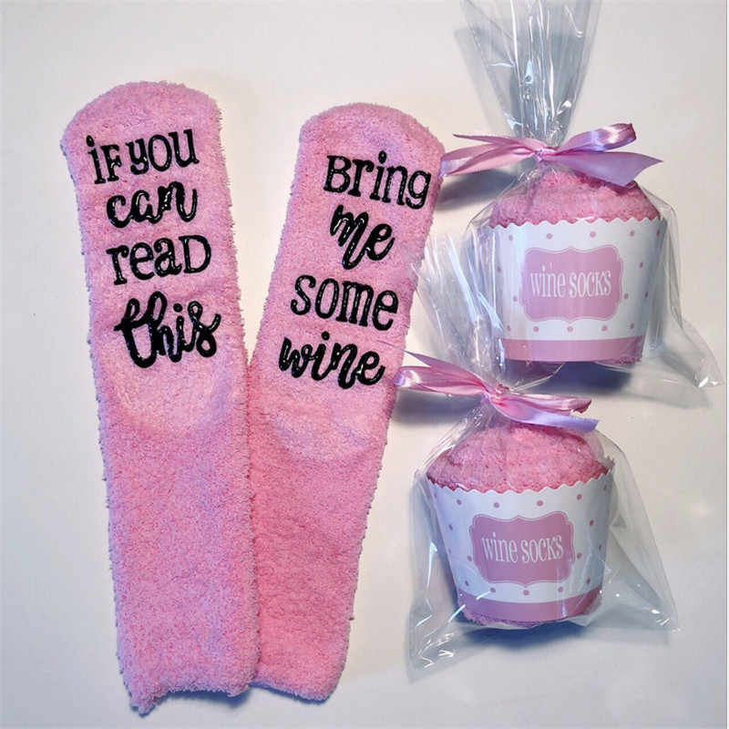 Fashion Casual Letter Print Warm Women Soft Cosy Fuzzy Warm Home Pink Slipper Floor Socks Winter One Size For Girls
