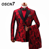 OSCN7 Double Breasted Tailor Made Suits Gentleman Red Flowers Print Wedding Dress Custom Made Suit Fashion Tuxedo ZM 269