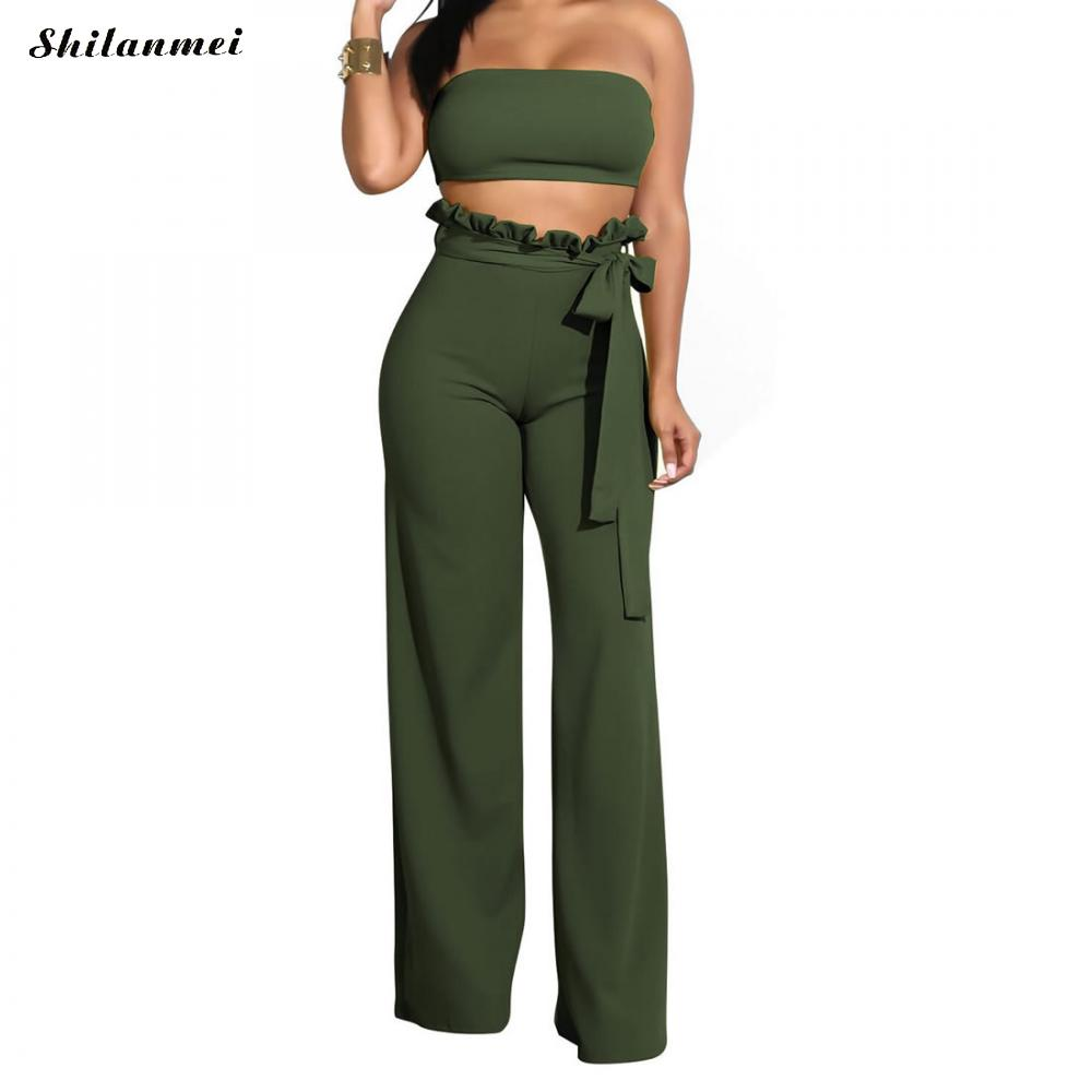 Women <font><b>Sexy</b></font> 2 Piece Set Strapless Bandeau Crop Top And Long Pants Suit <font><b>Ensemble</b></font> <font><b>Femme</b></font> Two Pieces Pantalon Summer Women Outfit Set image