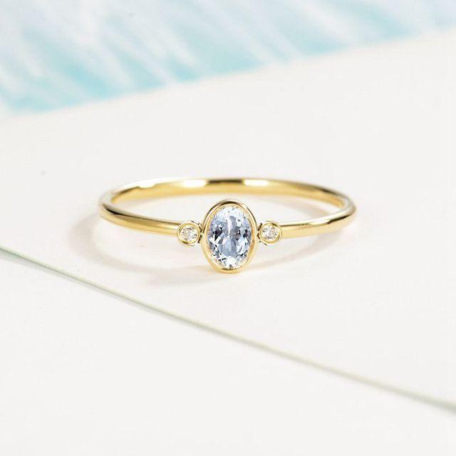 Solid 14k Yellow Gold Ring 4x6mm Oval Cut Natural Aquamarine Diamonds Women Engagement Wedding Ring Trendy Fine Jewelry