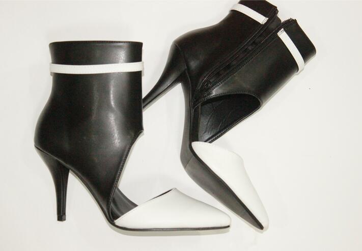 À Faux Arrivée Pointu Nouvelle Découpe Bout Femmes Style Dames Bottes Cuir Et Noir Cheville De Chaussures Hauts Blanc Sexy Partie Talons 8IqwxaqF