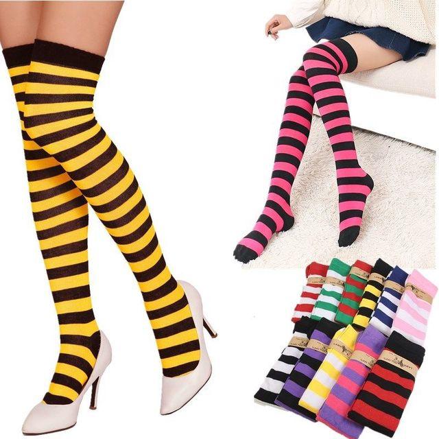 New White Stockings Stripe Girl School Knitted Over Knee Thigh High Women Stockings 67cm