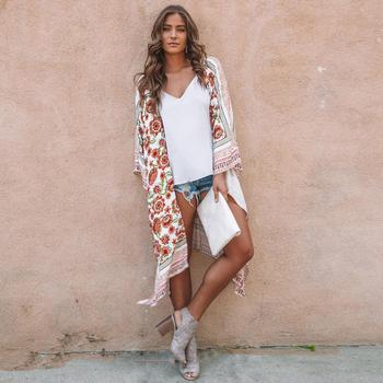 Casual Multicolor Neckline Batwing Irregular Women Long Beach Loose Casual Cover-Ups Sleeve Floral Open Summer