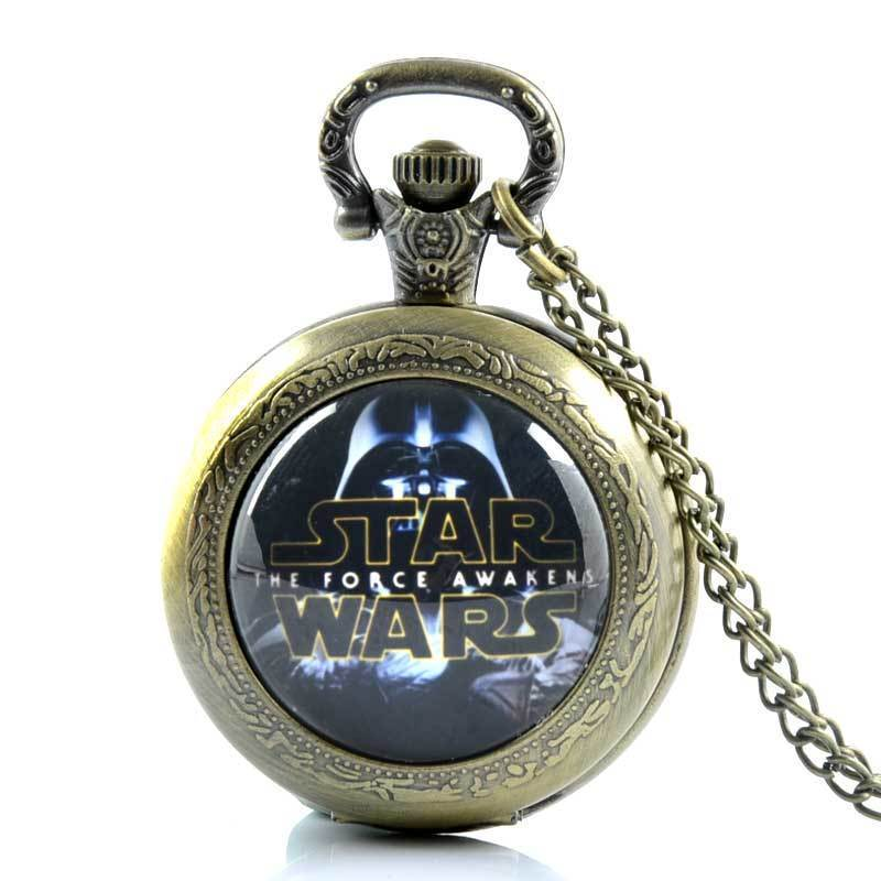 IBEINA Star Wars Theme Full Hunter Quartz Engraved Fob Retro Pendant Pocket Watch Chain Gift