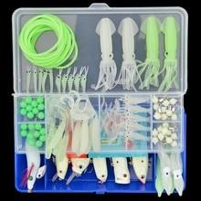 Luminous Fishing Lure 95pcs/set Wobblers Soft Squid Earthworm Shrimp Bait Glow Swivel Tube Beads Kit with Box