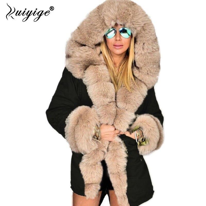 Ruiyige 2018 Winter Jacket Women Fashion Hooded Coat Faux Fur Collar Cotton Fleece Warm Coats   Parkas   Hoodies Plus Size Long Coat