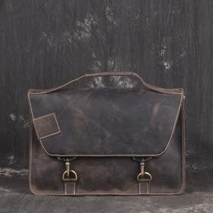 2019 Vintage Men's Cow Genuine Leather Briefcase Crazy Horse Leather Messenger Bag Male Laptop Bag Men Business Travel Bag