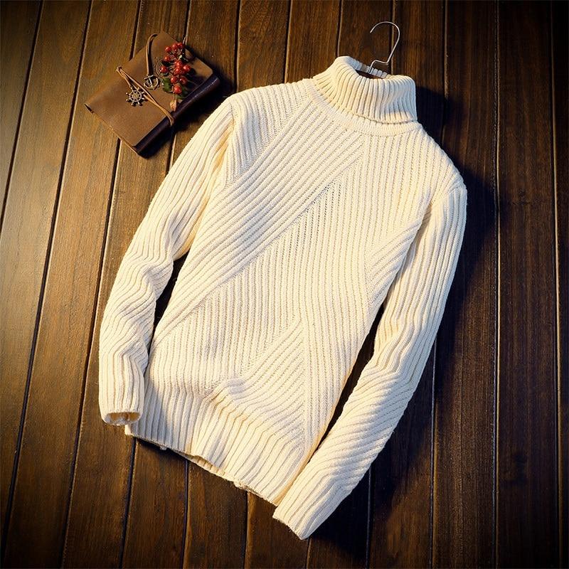 Winter New Turtleneck Men's Korean Version Shown Thin Sweater Casual Casual String Men's Fashion