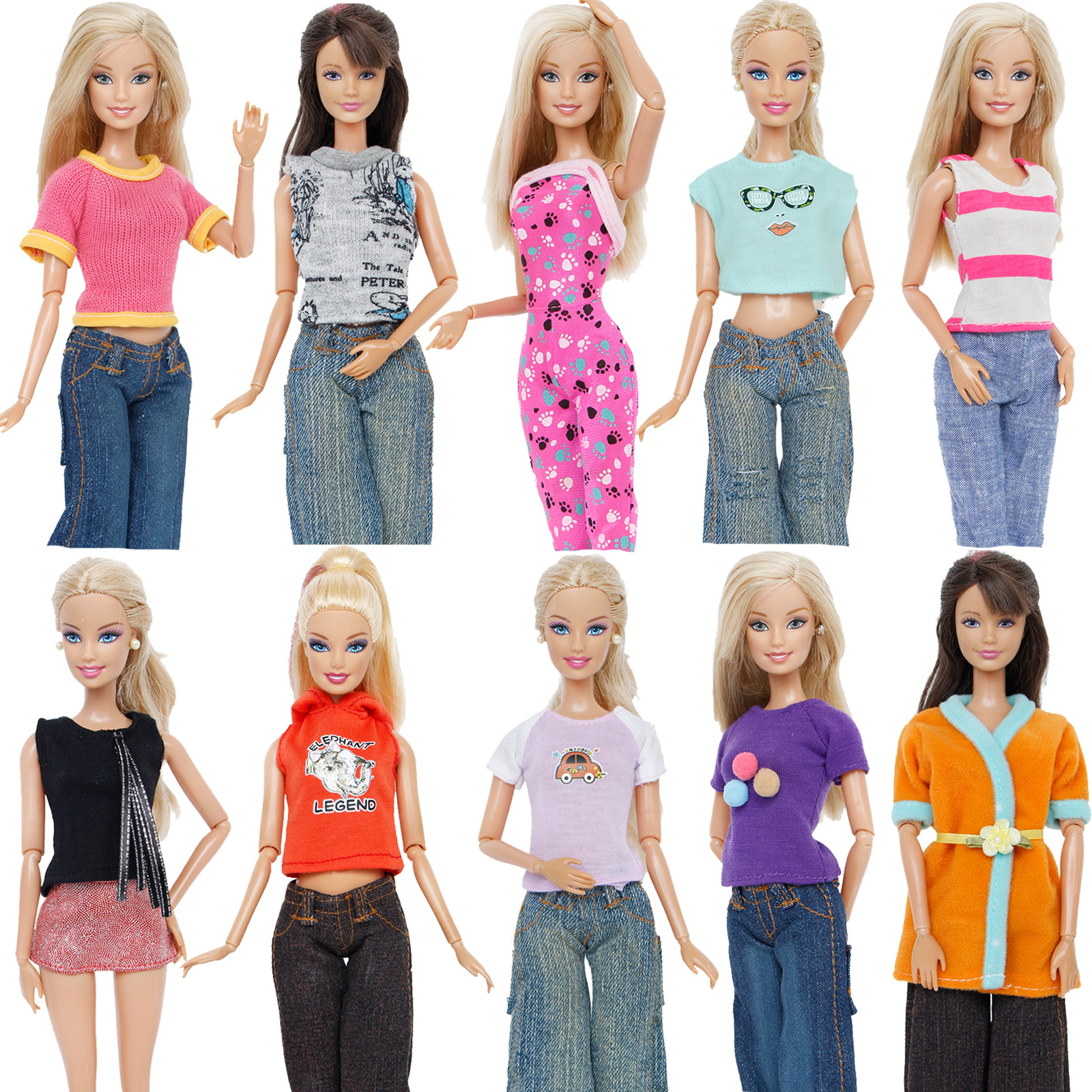 1 Pcs High Quality Outfit Fashion Daily Wear Blouse T-Shirt Sexy Jumpsuit Pants Jeans Clothes For Barbie Doll Accessores