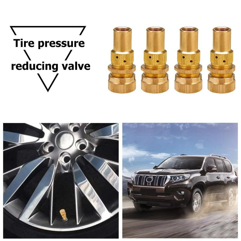 VODOOL 4Pcs Universal Offroad Car Tire Deflators Kit Automatic 6-30psi Tyre Deflator Pressure Reducing Relief Valve Accessories