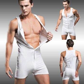Men One Piece Suit Pure Cotton Men's Quick Dry Breathable Solid Sleeveless Pajamas Set Men Underwear Body Shapers