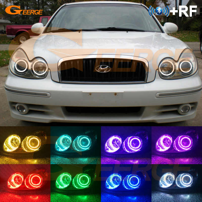 Voor Hyundai Sonata 2002 2003 2004 2005 koplamp RF Bluetooth Controller Multi-color Ultra bright RGB LED Angel Eyes kit