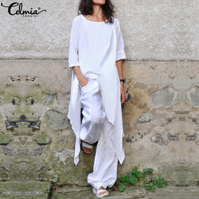 Celmia Oversized Vintage Tunic Tops Women's Blouses O Neck Half Sleeve Casual Shirts Loose Irregular Long Blusas Femininas S-5XL