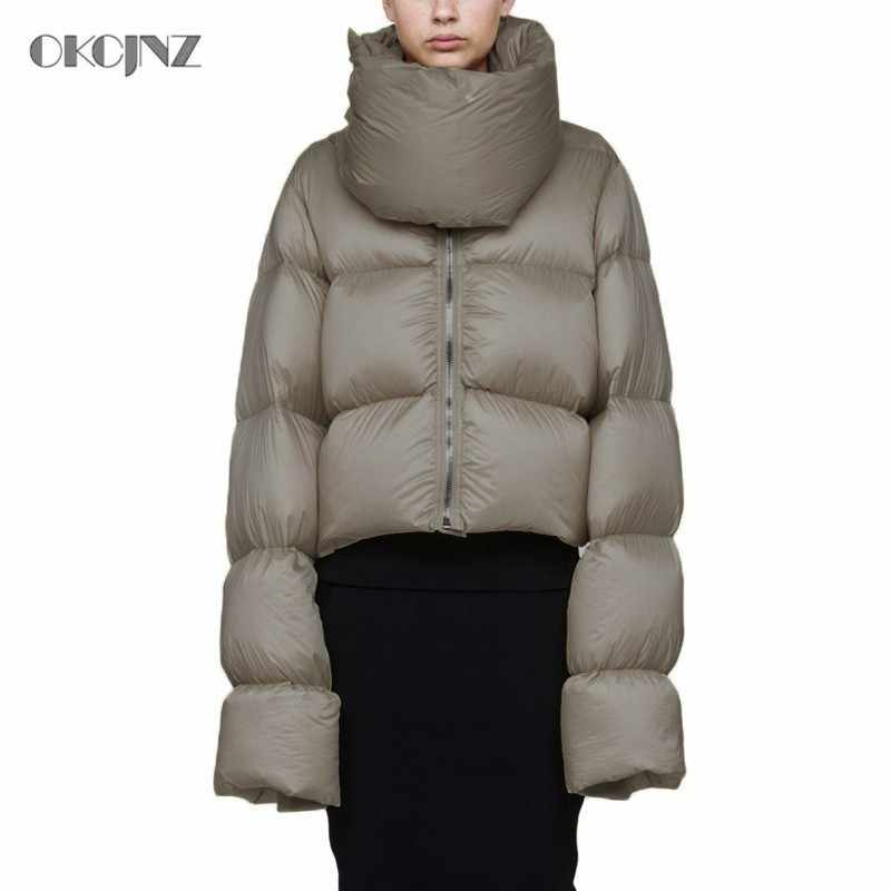 ea048546663 2018 Turtleneck Puffer Jacket Winter Women Down Coat Short Parka Slim Warm  White Duck Feather Jackets Plus Size outerwear OKQ030