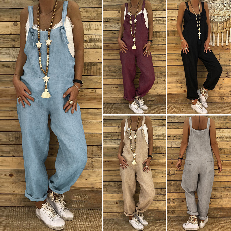 Plus Size Linen Overalls 2020 ZANZEA Vintage Casual Dungarees Jumpsuits Women Long Rompers Female Harem Pants Trousers Pantalon