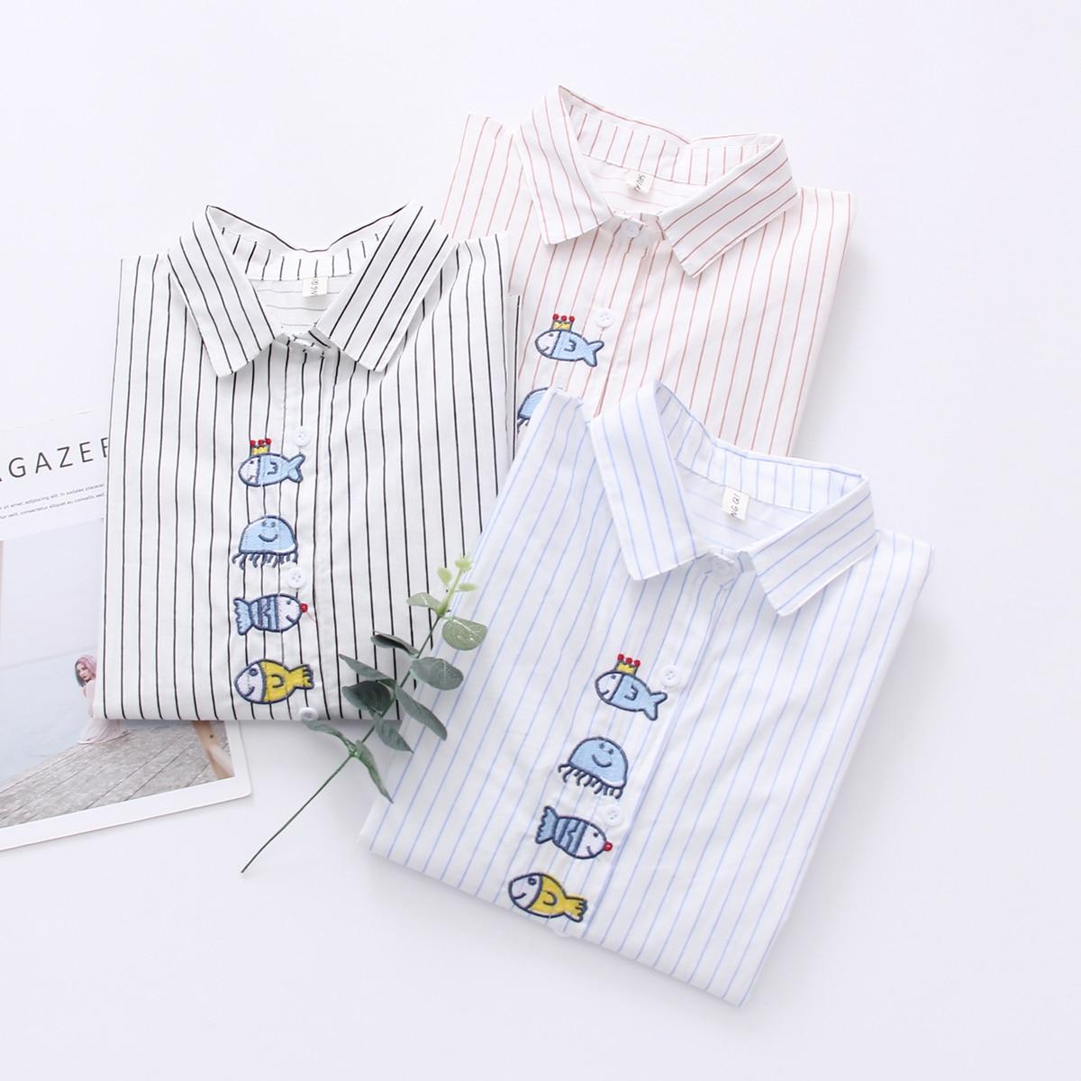 Autumn New Pattern Korean Literature Fresh Stripe Long Sleeve Shirt women Schoolgirl Cartoon Embroidery Rendering