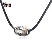 Vnox Engraved Chinese Words Necklace for Men Bead Charm Pendant Unisex Jewelry Nine Words of Mantra Stainless Steel Religion(China)