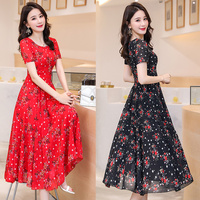 Black,Red Flower Summer Dress Women Short Sleeve Floral Print Long Chiffon Dresses Big Swing Office Lady Clothing S XXXL