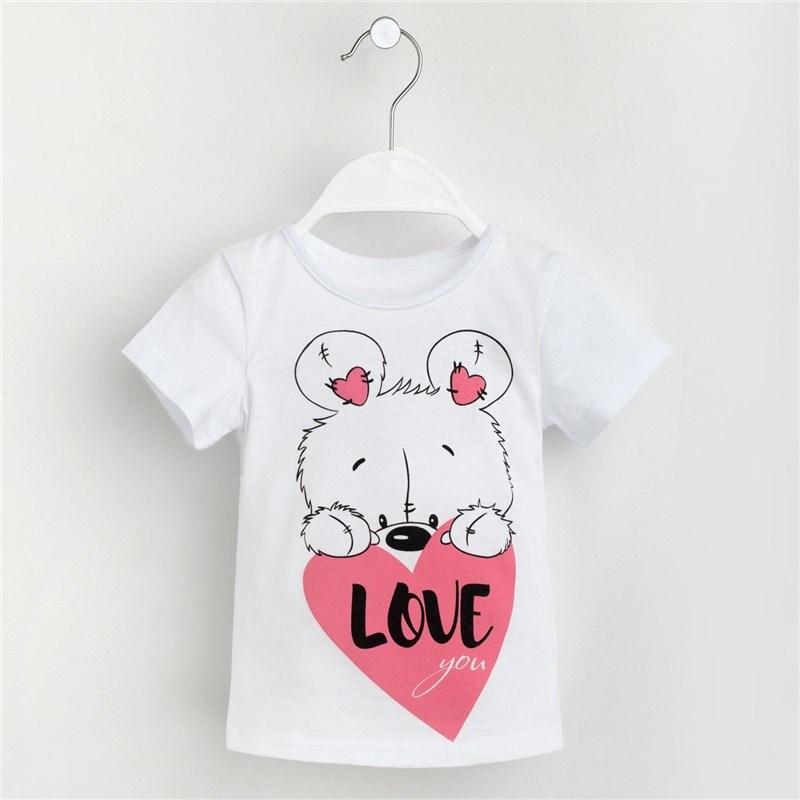 T-shirt for girls Bear P. 30 (98-104 cm), white jumper print 18 98 104 cm