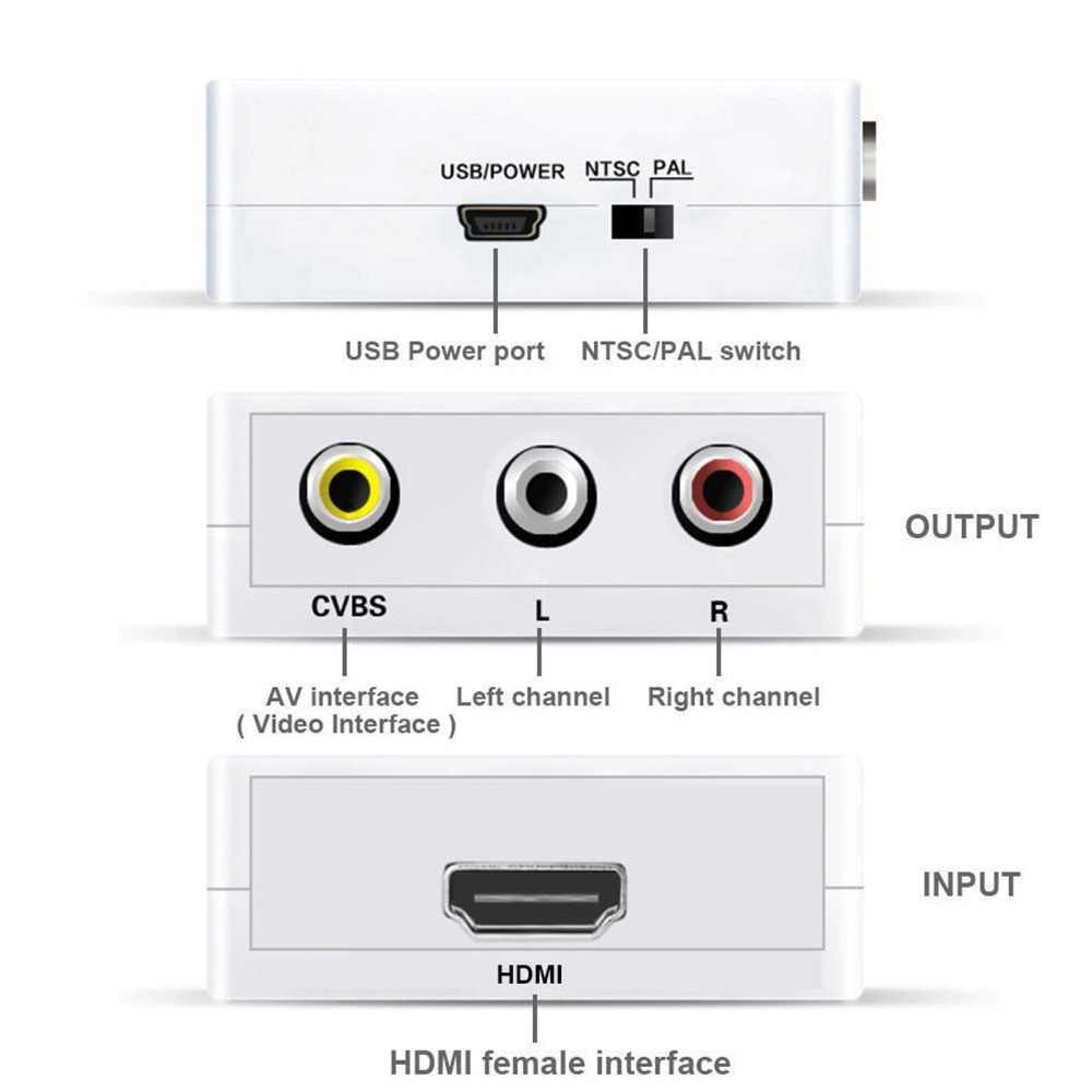 small resolution of  1080p mini hdmi to vga to rca av composite adapter converter with 3 5mm audio cable