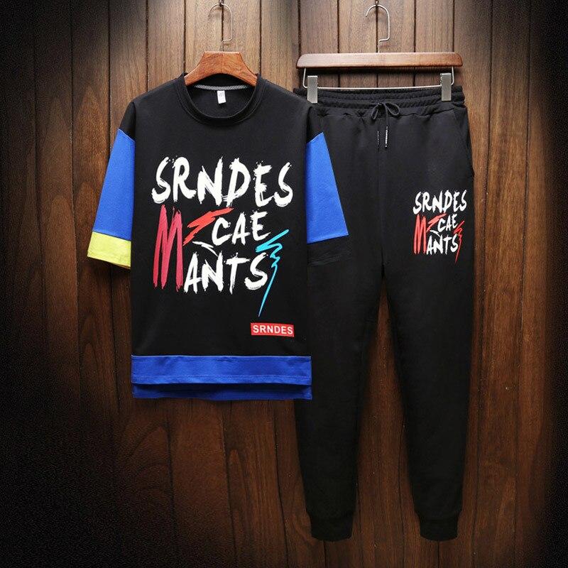 Hip hop costume homme printemps et été à manches courtes section mince pantalon ample tendance sportswear survêtement hommes ensemble livraison gratuite