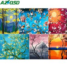 AZQSDDIY Coloring By Numbers Landscape Series Wall Art Abstract Oil Paint By Number Canvas Kits Tree&Moon Home Decor SZGD070(China)