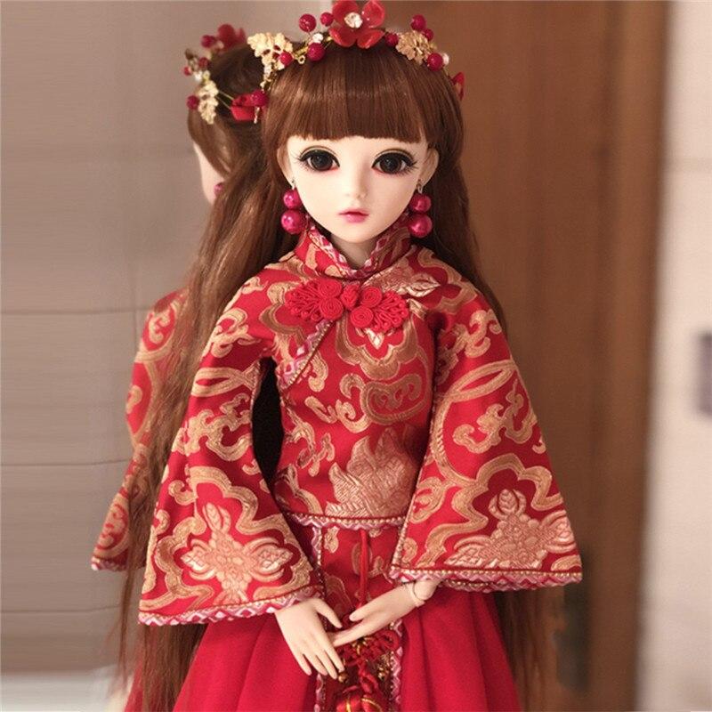 1/3 BJD Puppe Mit Red Chinesische Braut Hochzeit Kleid Make Up Puppe 60cm Bewegliche Gelenk Silikon Reborn Puppe Hochzeit Geschenk für Freunde-in Puppen aus Spielzeug und Hobbys bei  Gruppe 1